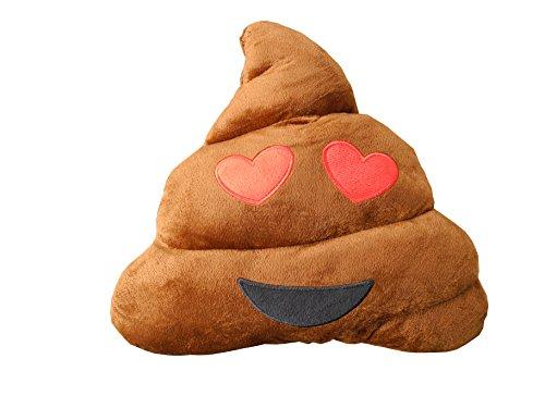 HAUFI® COJÍN Emoji Amor-Love - Almohada EMOTICONOS Caca Whatsapp - Microfibra - 28 cm - La Verdadera Moda del Año. Producto Original