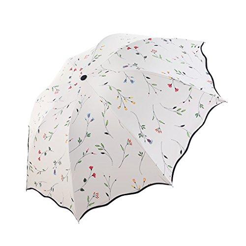 Damen Sonnenschutz Regenschirm Sonnenschirm mit Aufbewahrungstasche 3 Faltbar Doppeldach 8 Rippen, Anti UV,Schwarz Coating für Damen Mädchen Outdoor Camping Reise Alltag