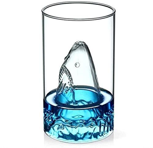 Decantadores Whiskey Decanter Conjunto de 2 gafas de whisky premium 350 ml Cristal 3D Relieve de tiburón Whisky Tumblers de vidrio para escocés Bourbon Cócteles Ron Durable Whisky Gafas para el campam