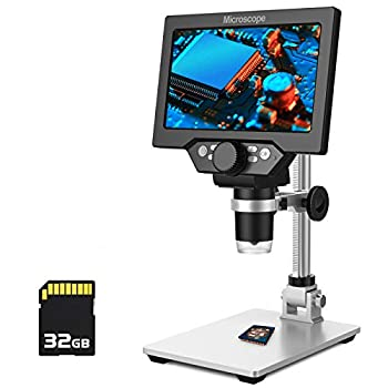PalliPartners LCD Digital Microscope,7 inch 1X-1200X Magnification Zoom HD 1080P 12 Megapixels Compound 3000 mAh Battery USB Microscope 8 Adjustable LED Light Video Camera Microscope with 32G TF Card