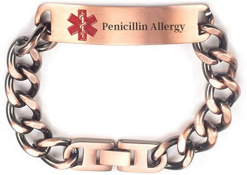 Pulsera de identificación de alerta médica con cadena de cobre puro pregrabada, para mujeres, hombres, longitud: 19 – 22 cm, ajustable, ancho: 12 mm (alergia a la penicilina)