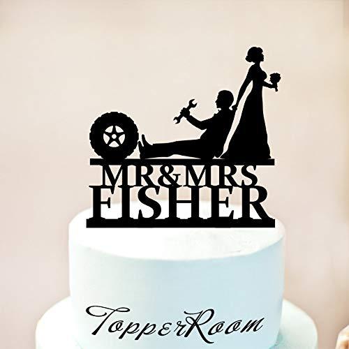 Mechanic Wedding Cake Topper Auto Car Mechanic Cake Topper Wedding Cake Topper Funny Wrench Tools Bride And Groom Mr & Mrs Cake Topper