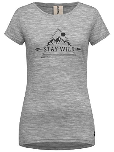 super.natural Bequemes Damen T-Shirt, Mit Merinowolle, W PRINT TEE, Größe: M, Farbe: Hellgrau/Schwarz