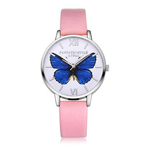 VECOLE Armbanduhr Frauen Mode Lässig Einfach Schmetterling Muster Römische Ziffern Zifferblatt Silberrahmen Lederarmband Uhr Geschenk für Frauen Quarz Analoganzeige Uhr(Rosa)