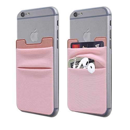 [2-Pack] Cell Phone Stick On Wallet Card Holder,FANSONG Lycra Cards/Earphones/Sim Adapter Storage Sleeve Bag with 3M Self Adhesive Sticker Slim Card Slot for Smartphones,Tablet