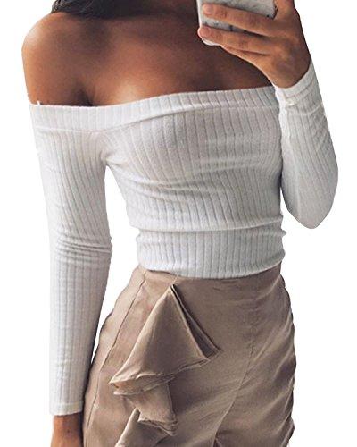 Minetom Mujeres Suéter Jerseys Manga Larga Top Ajustado Suéter Que Hace Punto Sin Tirantes de la Camiseta Ocasional Blouses Blanco ES 34
