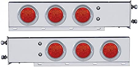 United Pacific Stainless Steel Mud Flap Hangers/LED Lights/Spring Loaded 2.5