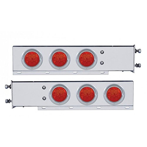 """United Pacific Stainless Steel Mud Flap Hangers/LED Lights/Spring Loaded 2.5"""" Bolt Pattern"""