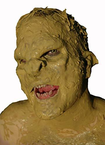 Krieger Maske aus Latex - Halbmaske Ork Warrior - hautfarben