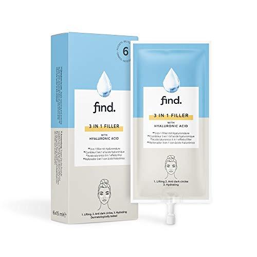 FIND - Rellenador de ácido hialurónico 3 en 1 (reafirmante, antiojeras y con acción drenante), 6 envases de 15ml