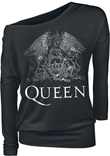 Queen Crest Vintage Mujer Camiseta Manga Larga Negro, Regular