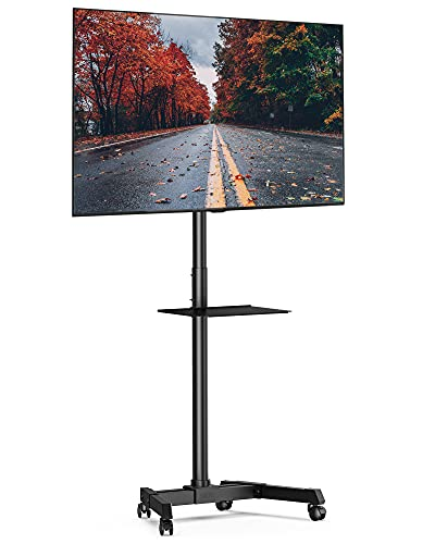 FITUEYES Mobile TV Cart with Wheels for 23-60 Inch LCD LED Flat Curved Screen TVs up to 77 lbs Mobile Rolling TV Stand with Height Adjustable Shelf Trolley Floor Stand Max VESA 400x400 Black