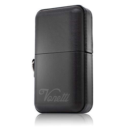 VONETTI Elegante Premium Keyless Go Schutz Box mit Echtleder bezogen/RFID Blocker Schutzhülle/Car Key Safe Box/Schlüsselbox/Schlüssel abschirmen (9cm, Black)