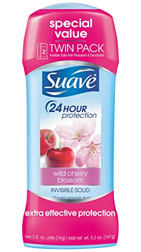 Suave Antiperspirant Deodorant, Wild Cherry Blossom 2.6 oz, Twin Pack