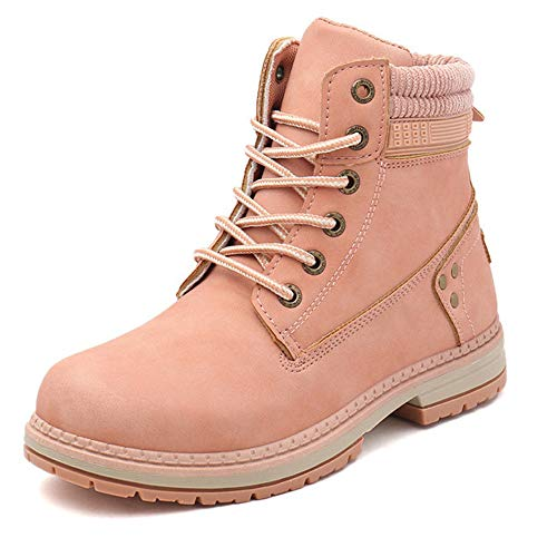 Women/Men's Outdoor Waterproof Lace-Up Ankle Work Boots (6 BM=Size 36, Pink97)