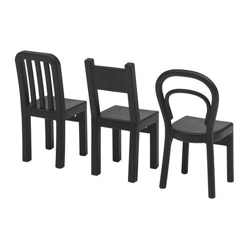 Ikea - Fjantig, ganci a forma di sedia, neri, 12x 6cm, 3pezzi