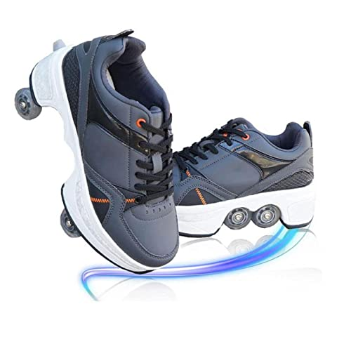 Patines de Ruedas Schuhe Für Männer Und Frauen Automatische Wanderschuhe Für Erwachsene 2 en 1 Multifunktionale 4 RAD Schuhe,35
