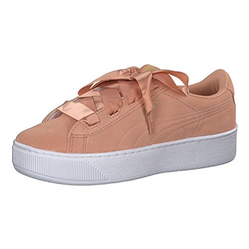 Puma Mädchen Sneaker Vikky Platform Ribbon Jr 367642 Dusty Coral-Puma Team Gold 37.5