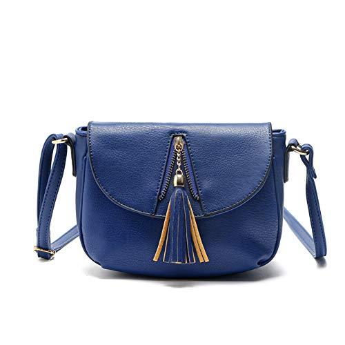 XCWQ dames handtas schoudertas rits kwast PU leder portemonnee, random color (blauw) - XCWQ-A-01