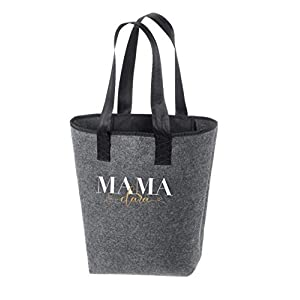 Filztasche Handtasche Shopper dunkelgrau MAMA (personalisiert) Name Kindes