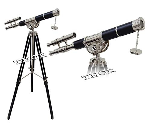 Great Features Of Solid Brass Floor Standing Double Barrel Telescope Black Leather W/Tripod Home Dec...