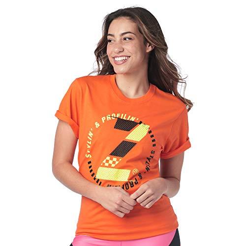Zumba Atmungsaktiv Fitness Unisex Workout Bedruckte Grafik T Shirt für Frauen und Männer, Tangerine, XS/S