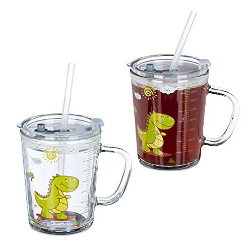 Relaxdays Trinkglas Kinder, 2er Set, Dino-Motiv, Kinderglas mit Henkel, Deckel & Strohhalm, 400 ml Skala, transparent