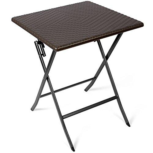Vanage Beistelltisch in braun - eckiger Gartentisch in Rattanoptik - Kunststofftisch für Garten, Terrasse und Balkon geeignet - Bistrotisch mit Stahlgestell