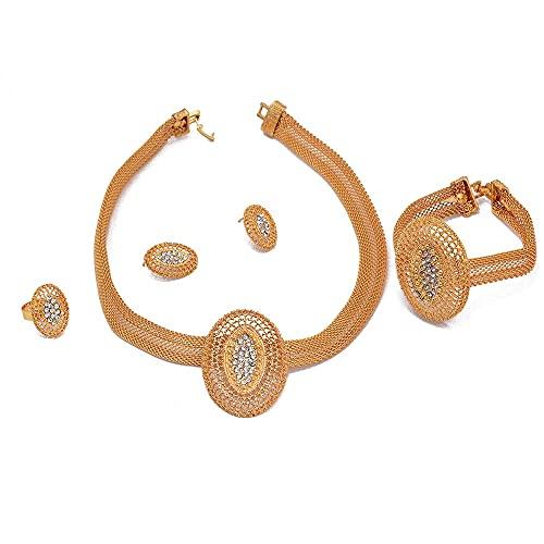 VAWAA Conjunto de Joyas de Oro etíope de 24 k para Mujer, brazaletes de circonita, Collar, Pendiente, Anillo, Regalos de Dubai, Conjunto Nupcial de Boda de Eritrea Africana