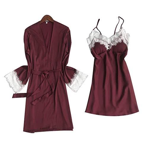 Y resorte de las señoras del verano del cordón atractivo de los pijamas de sujeción con el pecho del cojín de raso Home Use camisones (Color: rosa rosa, Tamaño: M) XYXG (Color : Deep Red, Size : L)