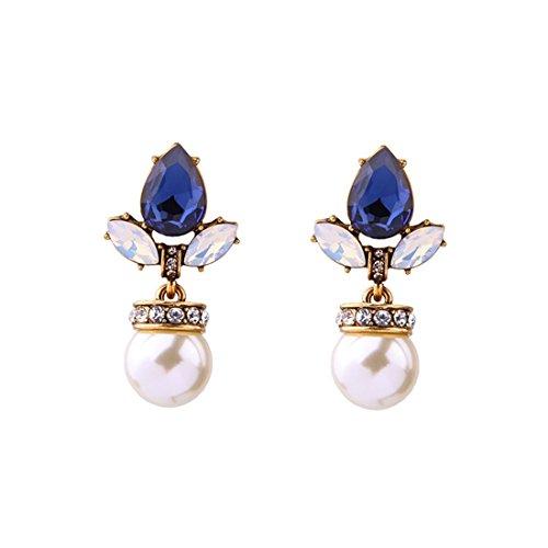 Perlas europeas y americanas de lujo azul marino goteandopendientes de mujer.