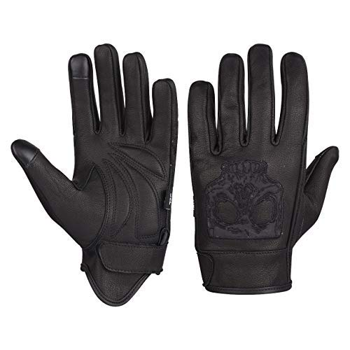 VL475SK Premium Leather Gel Palm Riding Gloves With Reflective Skull (L)