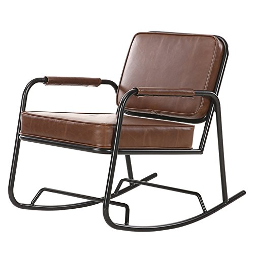 ZXZ Rétro The Elderly Lounge Chair, Winter Loft Iron Rocking Chair Canapé de fauteuil de toilette Sunshine Lounge Chair Chaise inclinable à bascule Home Nap Chairs Happy Chair 83 * 55 * 70cm Plusieurs modèles ( Couleur : A )