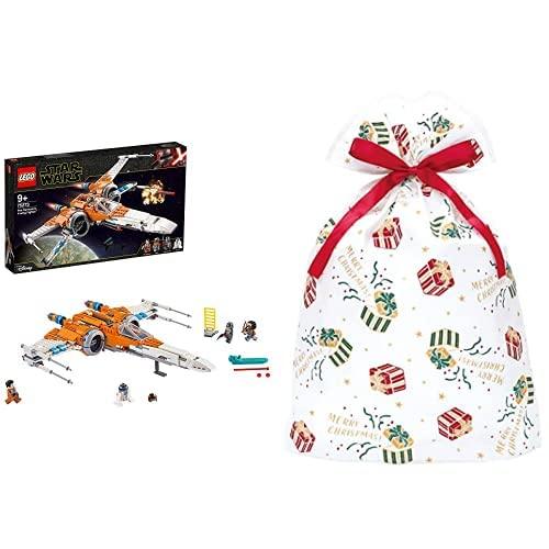 ポー・ダメロンのXウイング・ファイター? + インディゴ クリスマス ラッピング袋 グリーティングバッグ3L ギフト ホワイト XG616