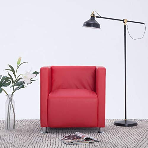 Festnight Clubsessel Rot Kunstleder Fernsehsessel Ledersessel Lounge Wohnzimmer 69 x 54 x 71 cm