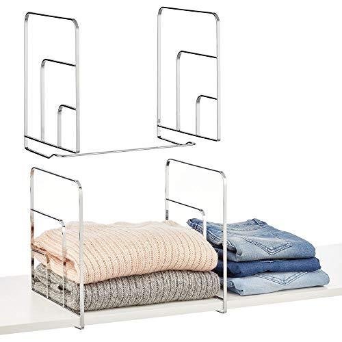 mDesign Juego de 2 separadores metálicos para organizar armarios y estanterías – Prácticos divisores de estantes y repisas – Sistema de Accesorios para armarios sin Tornillos – Plateado