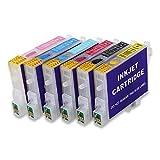 HEMEI Cartucho de tinta recargable compatible con la tinta Epson T0487, funciona con Stylus Photo R200 R220 R300M R320 R340 RX500 RX600 RX600 Impresora