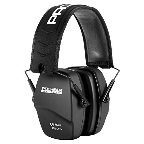 PROHEAR 016 Shooting Ear Protection Safety Earmuffs, NRR 26dB Noise Reduction Slim Passive Hearing Protector with Low-Profile Earcups, Compact Foldable Ear Defenders for Gun Range, Hunting (Black)
