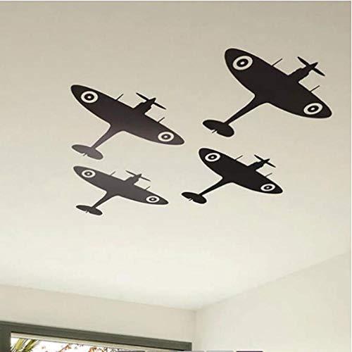 Anytumep Spitfire Avión Techo Etiqueta de la pared Bebé Habitación de los niños Dibujos animados Avión Etiqueta de la pared Decoración del dormitorio Mural Eg 42x88 cm azul