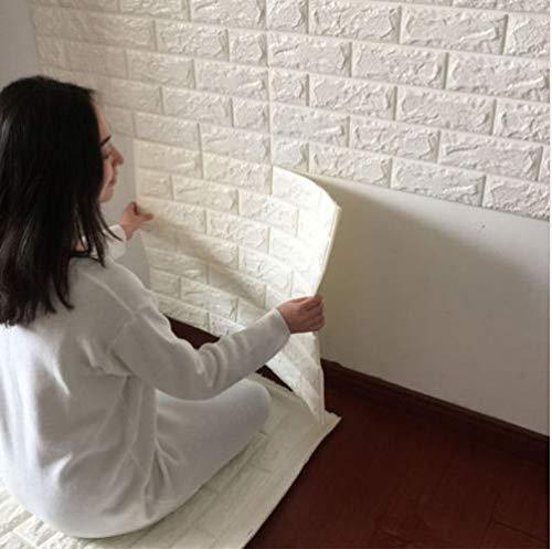 wassaw Wandaufkleber 60X60 cm Pe Foam 3D Wallpaper DIY Wandaufkleber Wand Dekor Geprägte Ziegelstein Weiß Wasserdicht Aufkleber