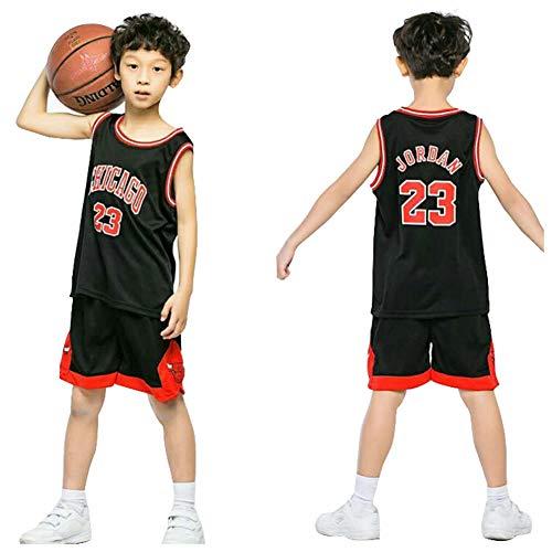 Basketballtrikot # 23 Jordan Bulls For Kid Boy Shorts Top Set Westen, Summer Shorts Basketball-Uniform für Jungen und Mädchen XS Schwarz