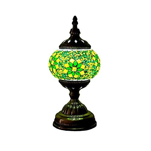 HYWFX Lámpara de Mesa de Mosaico, lámpara de Mesa Decorativa marroquí Hecha a Mano de 11 Pulgadas de Altura, iluminación Colorida Bohemia para Sala de Estar, Regalos (Color : E)