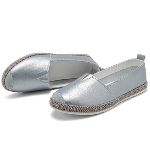 KEESKY Flats for Women Size 8 Sliver Blue Leater Silp-on Loafers Walking Shoes for Women
