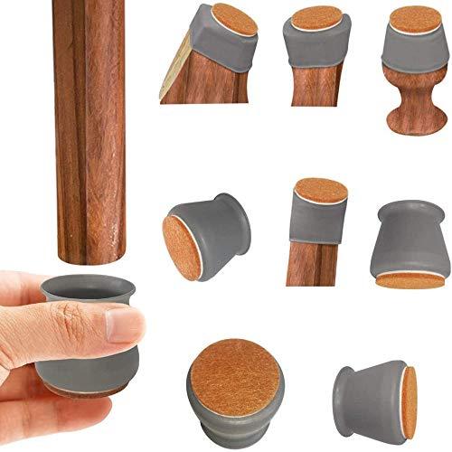 Hellay Kieselgel Stuhl Kappen für Hartholzböden, 12-Pack-Möbelschutzabdeckung mit Filzpolstern,frei bewegliche Stuhlkappen Stuhlbeinschutz Stuhlbeinkappen Stuhlbein Socken