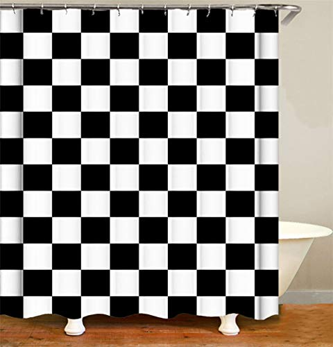SLN Schwarze Und Weiße Quadrate. Duschvorhang. 180 X 180 cm. 12 C-Förmige Haken. Einfach Zu Säubern. Wasserdicht. Nicht Verblassen. Haus Dekoration.