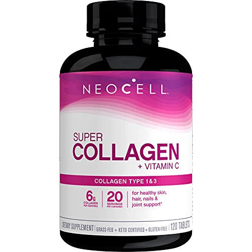 NeoCell Super Collagen with Vitamin C, 120 Collagen Pills, #1 Collagen Tablet Brand, Non-GMO, Grass Fed, Gluten Free, Collagen Peptides Types 1 & 3 for Hair, Skin, Nails & Joints (Packaging May Vary)
