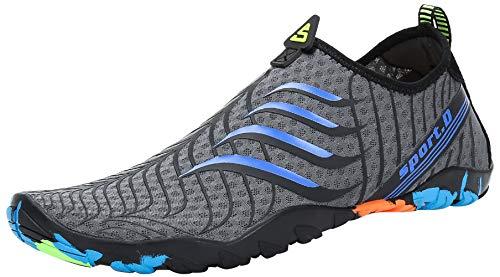 SAGUARO Escarpines Zapatos de Agua Calzado Playa Zapatillas Deportes Acuáticos para Buceo Snorkel Surf Natación Piscina Vela Mares Rocas Río para Hombre Mujer (022 Gris,42 EU)
