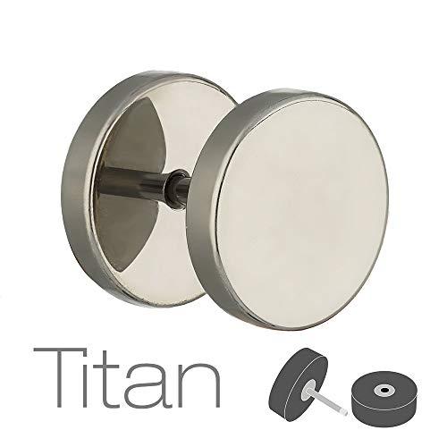Treuheld® | Fake Plug Ohrstecker aus Titan - 1,2mm x 4mm - Silber | Fake Tunnel - Ohrring zum Schrauben für Damen und Herren