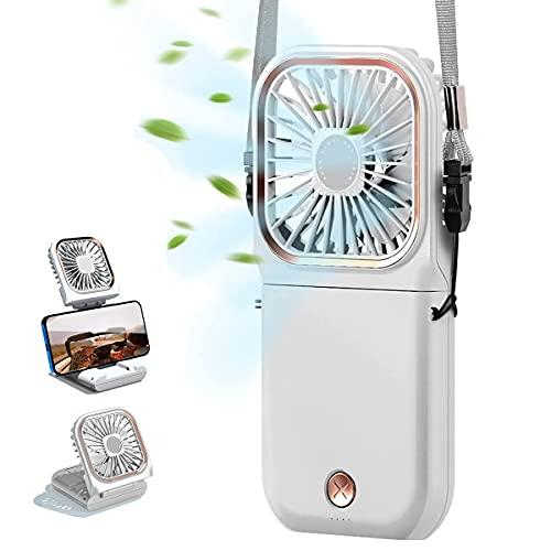 Wygard Ventiladores USB de 3000mAh Recargable Mini Ventiladores de Mano 3 ventilador...