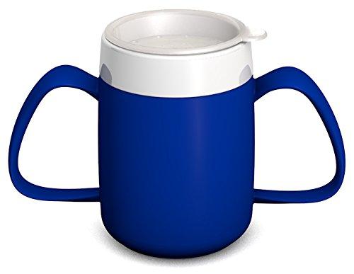 Ornamin 2-Henkel-Becher mit Trink-Trick 140 ml blau mit Trinkdeckel (Modell 815 + 814) / Spezial-Trinkhilfe, Schnabelbecher